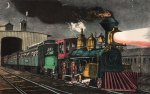 Currier & Ives Lithograph – The Night Express: The Start
