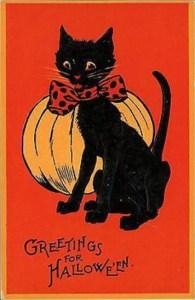 Retro Halloween Cat and Pumpkin postcard. Sam Gabriel 122 series.