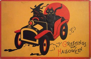 Retro Witch and Cat Driving. Sam Gabriel Halloween Series 122.