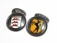 Antike Silber-Manschettenknpfe m. Wappen, Emaille ...