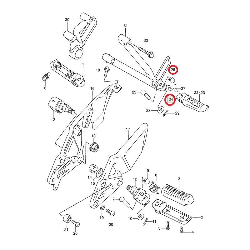 Goupille de câle pied arrière pour Suzuki GSX-R750 88-91