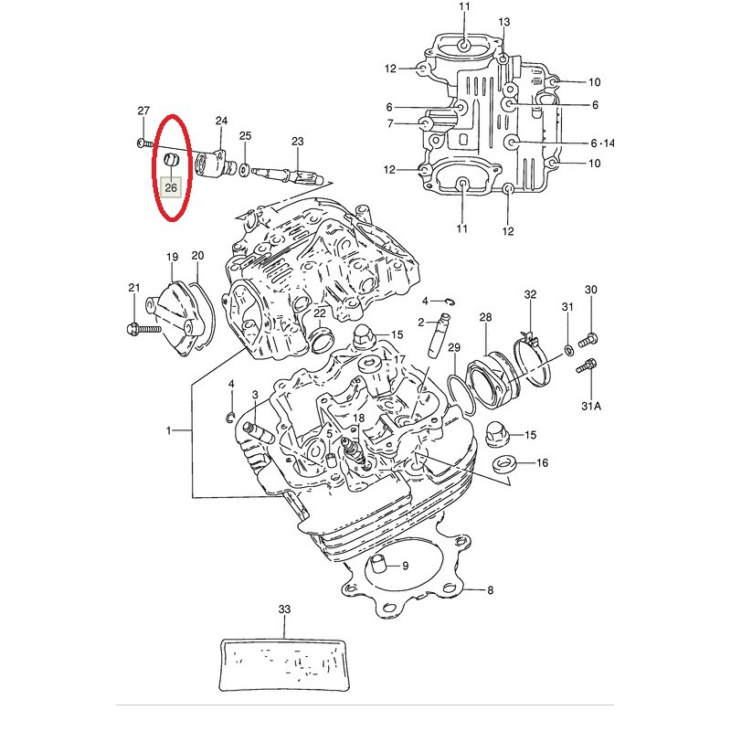 Roulement de pompe à huile Suzuki (5x12x8) DR125 DR250