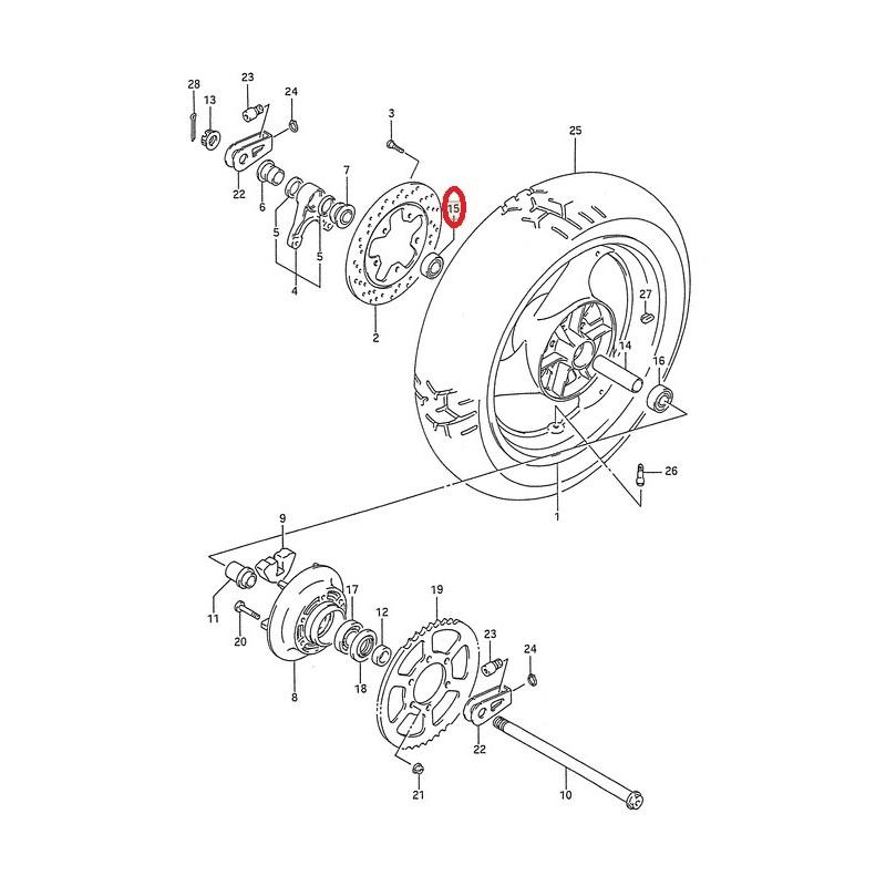 Roulement de roue arrière (20X47X14) Suzuki GSF1200 GSX