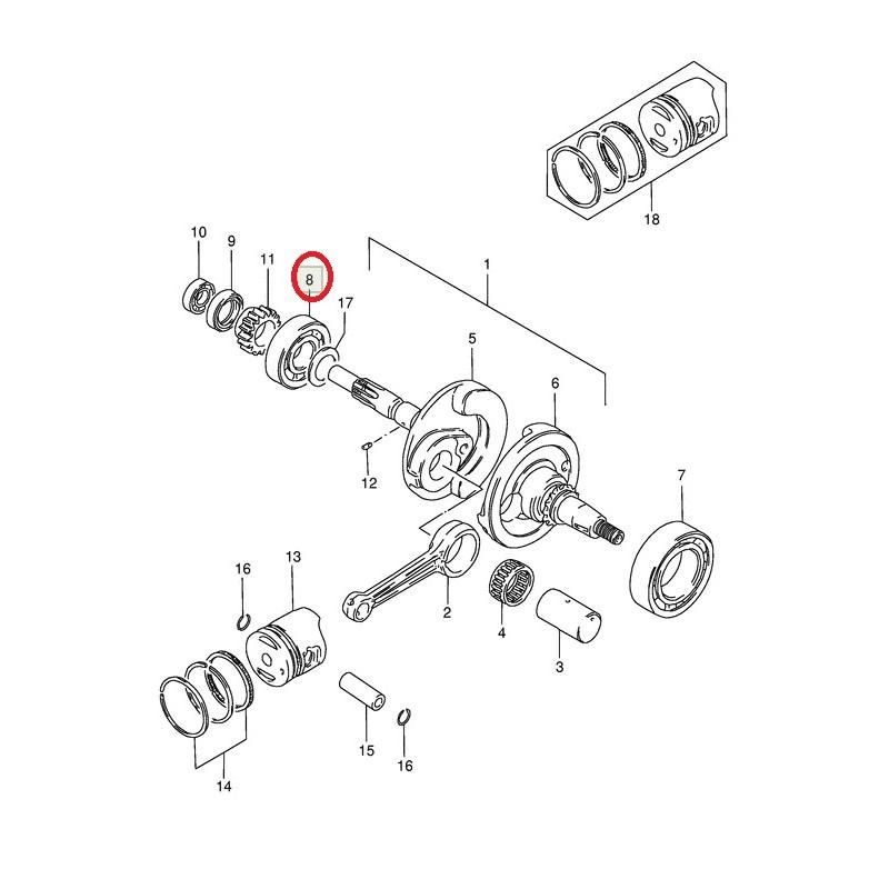 Roulement de vilebrequin (25x52x15) pour Suzuki AG100