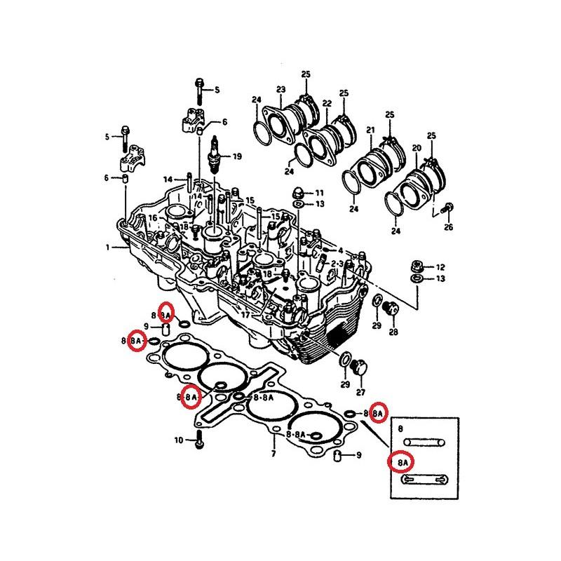 Joint d'étanchéité sur culasse X2 Suzuki GSX-R1100 GSX