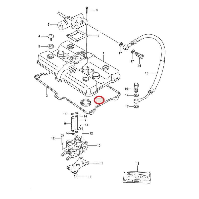 Joint d'étanchéité bougie cylindre n°2 DL1000 GSF250 GSX