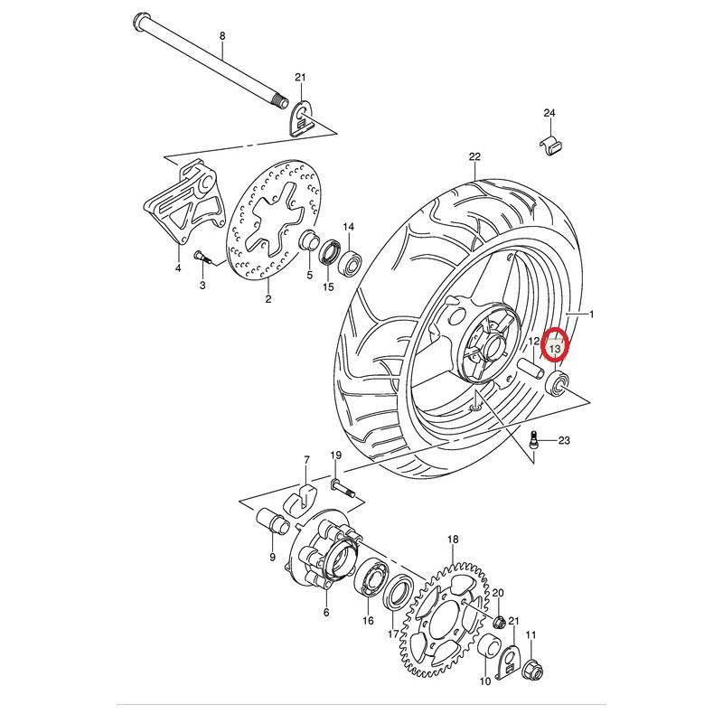 Roulement de roue arrière (20X47X14) pour Suzuki GSF1200