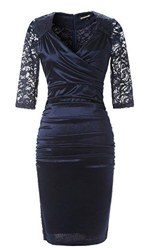 Miusol Damen Knielang 12 Arm Rundhals Vintage Kleid