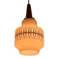 Scandinavian Hanging Lamp Made Of Milk Glass And Wood ...