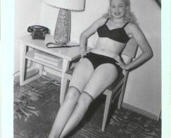 Non-Nude Blonde in Black Lingerie