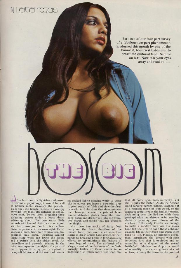Page one of The Big Bosom article from 1973 - New Direction (May)