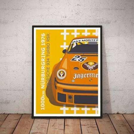 Porsche 911 RSR nurburgring 24h 1976 60x80 zwarte lijst
