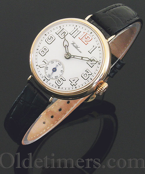 1914 9ct rose gold round vintage Waltham watch (3419)