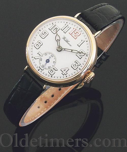 1914 9ct rose gold round vintage Waltham watch