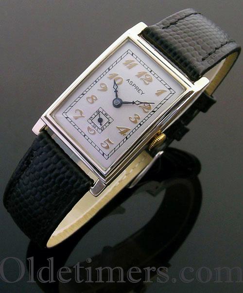 1930s 9ct gold rectangular vintage Asprey watch (3745)