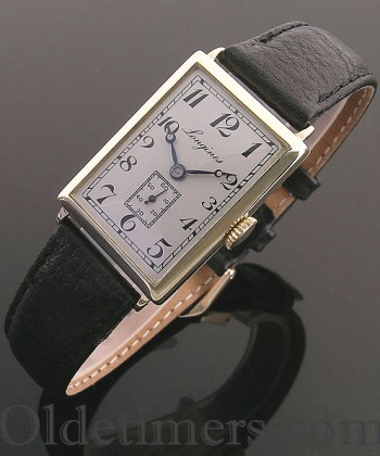 1920s 18ct gold rectangular vintage Longines watch (3826)