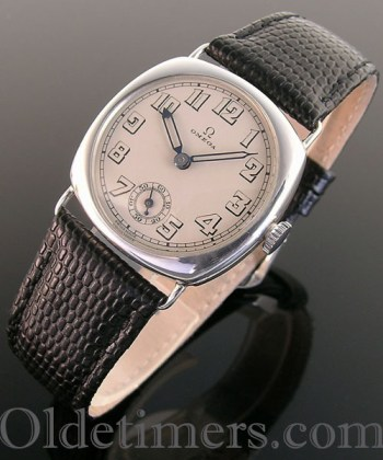 1920s cushion silver vintage Omega watch (3654)