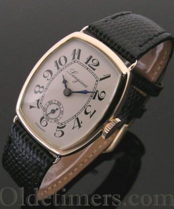 1913 rare 14ct rose gold tonneau vintage Longines watch