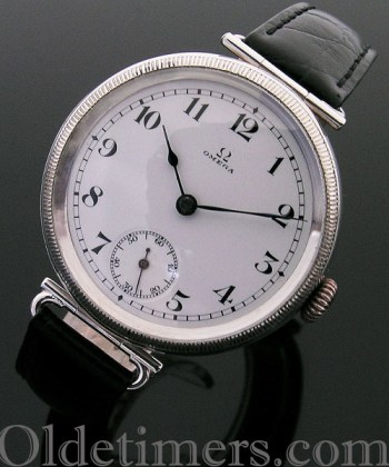 1915 rare early round silver vintage Omega watch