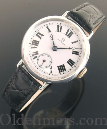1914 rare early silver round vintage Omega 'Trench' watch