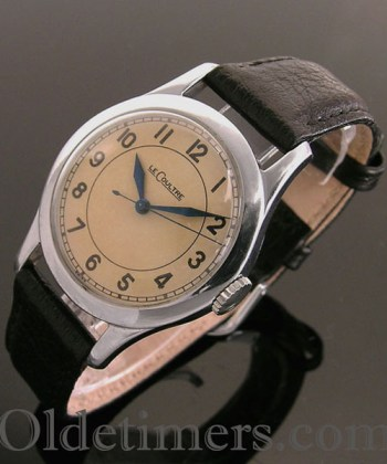 1940s round stainless steel vintage Jaeger LeCoultre watch (3264)