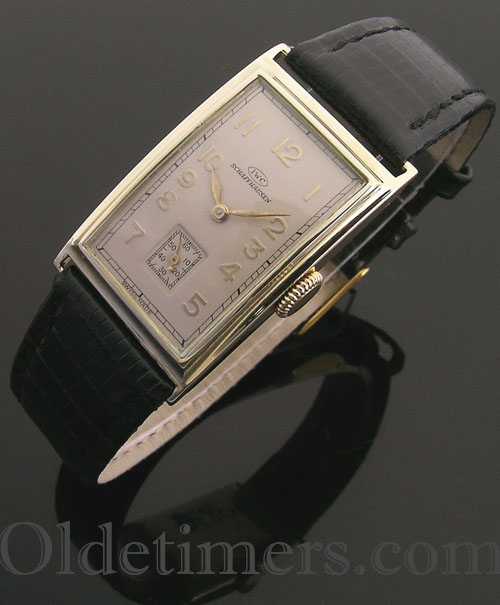 1930s 14ct gold rectangular vintage IWC watch (3870)