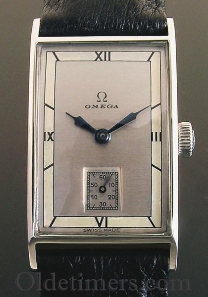 1930s rectangular steel vintage Omega watch