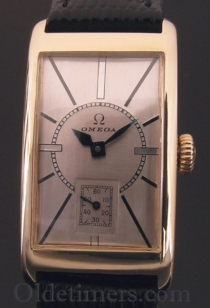 1930s 9ct gold rectangular vintage Omega watch