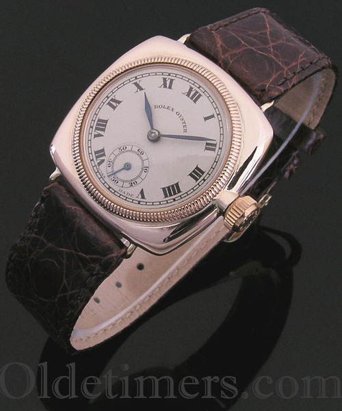 1920s rose gold cushion vintage Rolex Oyster watch (3867)