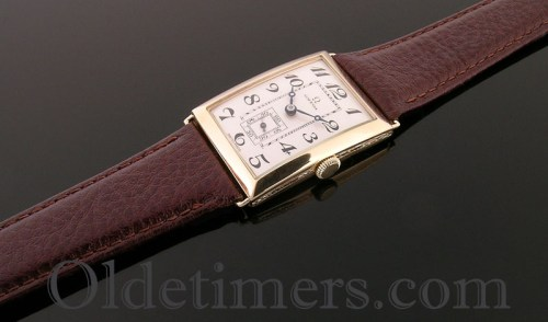 1920s 18ct gold rectangular vintage Omega watch