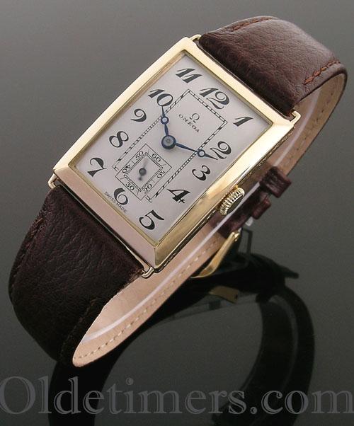 1920s 18ct gold rectangular vintage Omega watch (3932)