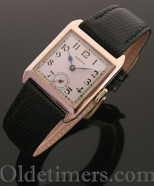 1920s 9ct rose gold square vintage Mappin watch (3887)