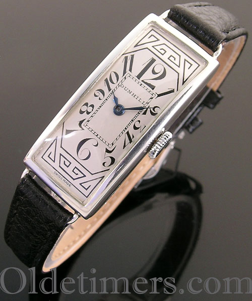 1920s silver rectangular vintage Dunhill watch