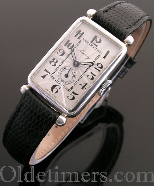 1920s silver rectangular vintage Asprey watch (3906)