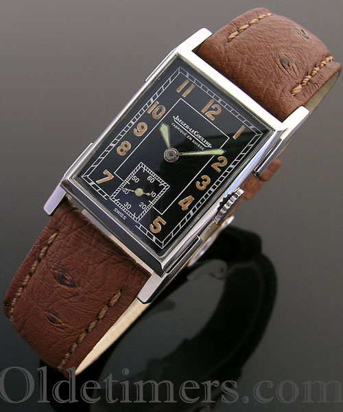 1930s rectangular steel vintage Jaeger LeCoultre watch
