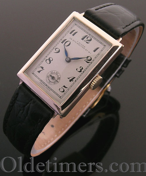 1930s 9ct rose gold rectangular vintage F. Dixon watch (3662)