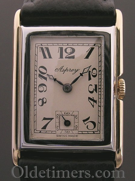 1930s 18ct two colour gold rectangular vintage Asprey watch