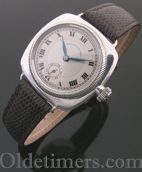 1920s cushion silver vintage Rolex Oyster watch (3914)