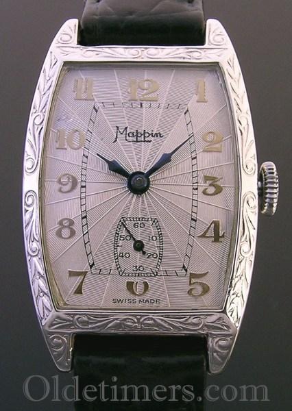 1920s silver tonneau vintage Mappin watch
