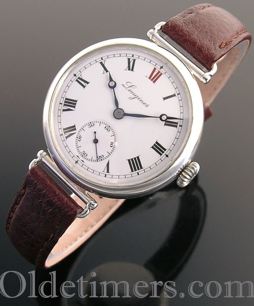 1918 silver round vintage Longines 'Officers' watch (3467)