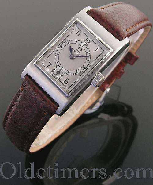 1930s steel rectangular vintage Omega watch (3985)