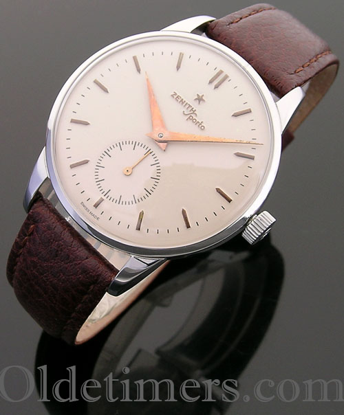 1950s large steel vintage Zenith Sporto watch (3953)