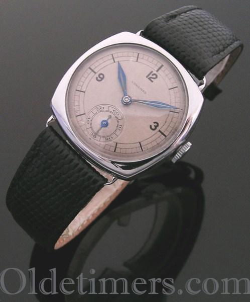 1930s steel cushion vintage Longines watch