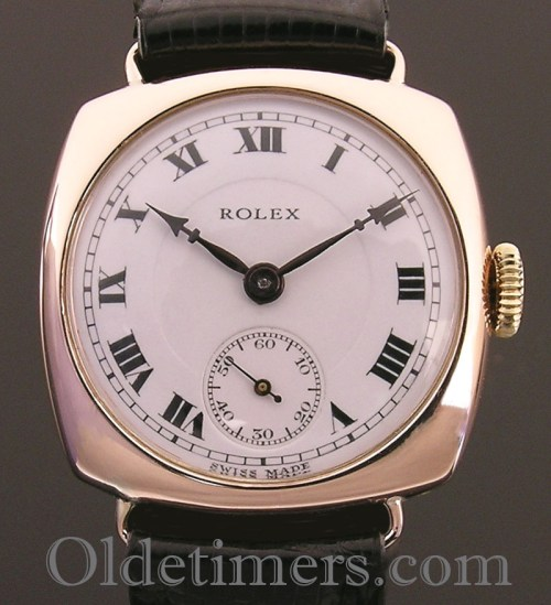 1920s 9ct rose gold cushion vintage Rolex watch