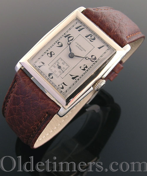1930 9ct gold rectangular vintage JW Benson watch (4009)