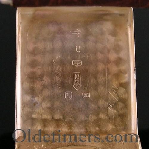 1930 9ct gold rectangular vintage JW Benson watch