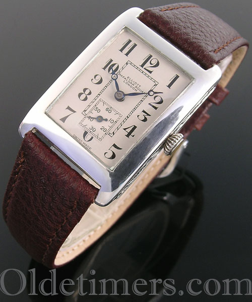 1920s silver rectangular vintage Elliott watch (3476)