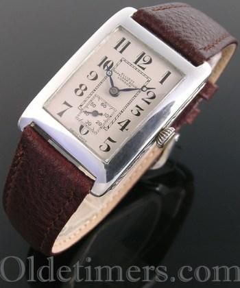 1920s silver rectangular vintage Elliott watch