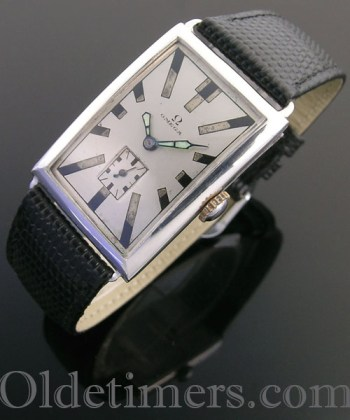 1920s large silver rectangular vintage Omega watch