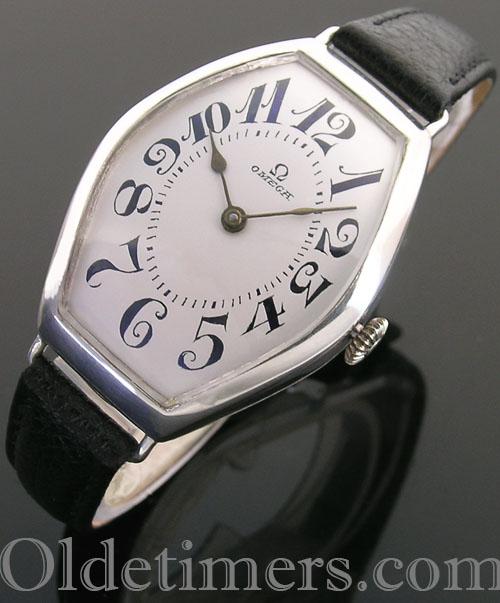 1920s large silver tonneau vintage Omega watch
